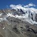 Vue sur tout le tour: Montée le long de l'arrête à gauche, redescente dans les glaciers dans le flanc sur la droite du glacier (Pris depuis le sommet du Jegihorn la veille)