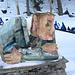 caratteristica scultura in legno a Sils
