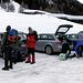 Parcheggio (sempre popolato da ciaspolatori e sci-alpinisti). Partenza alle 08:15