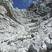 Rückblick ins Felswirrwar der Watzmannwestwand