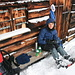 ganz gut geschützt vor Schnee und Eiswind: Pausenplatz bei der Bloackhütte