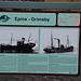 Infotafel zu dem hier gestrandetem Schiff am Strand von Dritvík.