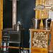 Die tägliche Hausarbeit: Wasser holen, Holz sägen und spalten, kochen.
