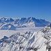 Top of Europe auch ohne Mont Blanc. Aig. Verte, Courtes, Droites, Aig. du Chardonnet, Aig. d'Argentière, Tour Noir, Plateau du Trient. Bald!