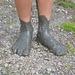 Fango Packung an den Füßen, nach dem Bad