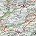 Hier die Karte der Tour, die rote Linie zeigt die Route. Gelaufen wurde auf den ordentlichen Wegen neben dieser Linie.