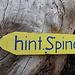 Neblig-feuchtes und graues Wetter im Aufstieg zur Alp Hinterspina. Wenigstens ist das liebevolle Richtungs-Schild farbenfroh...