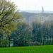 Außerhalb des Waldes geht´s über offenes Feld nach Doverhahn. Hier erblickt man den Kirchturm von Hilfarth im Rurtal.