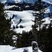 Aussicht vom Farenstöckli und verklebte Skispitzen