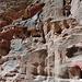 die Kletterstelle vom Band hinab zur Geröllrinne