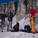Adi, Sven und Franz an der Bergstation des Vallon-Sessellifts, unterhalb des Einstiegs zum Boéseekofel-Klettersteig.