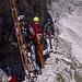 Adi, Franz und Sven am Einstieg des mittelschwierigen und nicht übermäßig langen Boéseekofel-Klettersteigs.