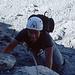 Adi im Tomaselli-Klettersteig, noch wird gelacht.
