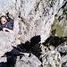 Irgendwo im Ausstiegskamin. Ein harter Brocken, vor allem für nicht geübte Anfänger im Klettern.