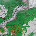 Wanderkarte am Ausgangspunkt PP Burg Wildenstein. Eine Tour mit Auf- und Abstiegen, bei der man sich zwischen 600 m und 820 m bewegt<br /><br />Route: Burg Wildenstein - Leibertinger Tobel 750 m - Bandfelsen - Hohler Felsen - Bischofsfelsen* - Langenbrunn - PP -Pfad im Wald unter Werenwag - Echofelsen - Werenwag - Korbfelsen - P. 619 - Eichfelsen - Felsengarten - Donausteg - Leibinger Tobel - Felsengalerie - Burg Wildenstein<br /><br />*Vom Felskopf des Bischofsfelsen führt ein kartierter Pfad (gestrichelte Linie) nach Norden, den Abstieg zwischen den Felsen habe ich allerdings verpasst und landete auf dem weiss eingetragenen Forstweg
