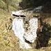 Ich folge der Wegmarkierung auf dem schwarzen Felsen im Tobel