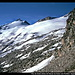 Pico de Aneto (links) mit dem Glaciar de Aneto vom Portillón Superior, Maladeta-Massiv, Pyrenäen, Spanien