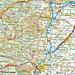 Übersichtskarte mit Lage vom Le Champ du Feu (1099m). Die Fahrradroute führt von Barr über Mittelbergheim und Andlau nach Le Hohwald.