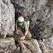 Das nasse Kamin kurz vor dem Gipfel (Schlüsselstelle T5 ll)