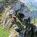 Eine etwas luftige Kletterstelle
