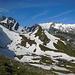 Alpstein bei bestem Wanderwetter, Richtung Säntis und Altmann liegt noch haufenweise Schnee