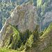 Dreifaltigkeit Ostturm 1762m; der Aufstiegsweg über den grasigen Verbindungsgrat ist gut zu erkennen (oben BG, II+)