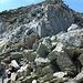 Steiler Aufstieg von der Sunnig Lücke über Südflanke/Südostgrat zum Blauberg. Im Aufstieg sind wir hier nach links über den Bildrand traversiert, im Abstieg (im Bild) links der Gratkante abgestiegen. Ziemlich viel loses und unzuverlässiges Gestein liegt herum: möglichst nicht gemeinsam in Falllinie aufsteigen.