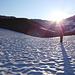 Aufstieg über hart gefrorenen Schnee