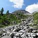 Hier geht's weglos weiter zum Rundhorn, welches hier seinem Namen gerecht wird. Man peilt die Scharte rechts des Gipfelaufbaus an.