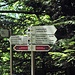Wegschilder am Steig nördlich parallel zum Karlsruher Grat (die kürzeste Route zurück zum Parkplatz)