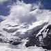 Die Hängegletscher der Bishorn-Nordostflanke am Nachmittag beim Abstieg vom Brunegghorn.