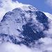 Gipfelbereich des Eigers (3970m), umgeben von Wolken, aufgenommen von Grindelwald.