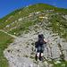 Am Altmannsattel/Fuss des Altmanns angekommen -- meine Frau küsst den Fels ;) und ist erstmal platt