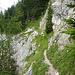Gesicherte Querung unterhalb des Gspitzten Steins.