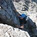 Eine zünftige Kletterpassage im dritten Grad - an besagtem Riss