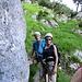 """Hier wurden schon mal die Klettergurte montiert. Esther mit ihrem """"Bergführer"""" Franz. Ihm sei für die Seilführerschaft herzlich gedankt"""