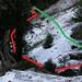 In rosso, ho evidenziato il percorso che abbiamo scelto per superare il tratto ostacolato dalla valanga; in verde, la presunta traccia del sentiero.