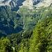 Aussicht von der Alpe Stüell zum Venn - Laghetti - Picoll. In der Tiefe die Alpe Nasgheda