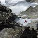 Im sehr heiklen Abstieg durch die Westflanke des Verstanclahorns