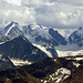Allgegenwärtig auch vom Piz Ot aus, das Bernina-Massiv.
