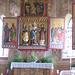 Chiesa di Zell. Altare centrale: al centro Maria ed il Bambino fra Santa Barbara e Santo Stefano (il primo dedicatario della chiesa). Sugli sportelli sono dipinti: a sinistra San Leonardo e San Bartolomeo (a cui la chiesa è attualmente dedicata), a destra Sant'Albano (il secondo dedicatario dell'edificio)  e Santa Margarete.