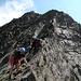Gipfelabstieg zum Grat - ein Kölner Paar nahm die Hohe Villerspitze auch noch unter ihre Sohlen