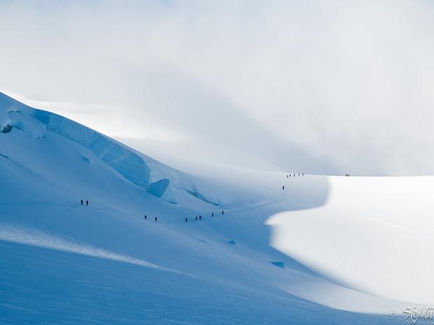 Licht und Schatten... Und viele Bergsteiger auf dem Weg zur Signalkuppe.