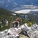Kletterausstieg aus einer ersten Felsstufe