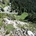 Blick hinunter in die Querung zwischen dem Fuss des Schär-Südgipfels und der Alp Jöggelisberg.