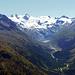 Das Val Roseg in das ich gestern von links oben in der Ecke (Piz Chalchagn) hinunter gestiegen bin.