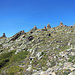 Wenn Du ein Steinmännchen brauchst in den Bergen, ist sicher keins da oder Du siehst es nicht. Auf diesem Gupf (P.2765) stehen sich die Dinger auf den Füssen.