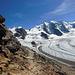 Ein letzter Kamerablick in die grandiose Bergwelt auf halbem Weg zurück zur Diavolezza.