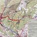 Die Route von der Talstation über die Rappenlochschlucht und Wurzelweg etc.bis zur Bergstation der Karrenseilbahn ist blau eingetrange