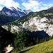 Dans la descente de la K Scheidegg vers Trümmelbach, en face Mürren, au fond le Gspaltenhorn (3485m)